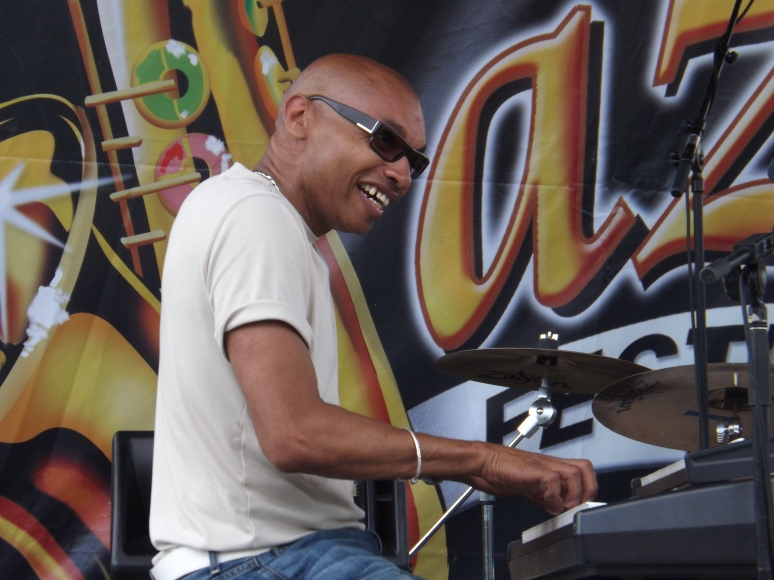 Eddie Bullen on stage at the Beaches Jazz Festival, 2013
