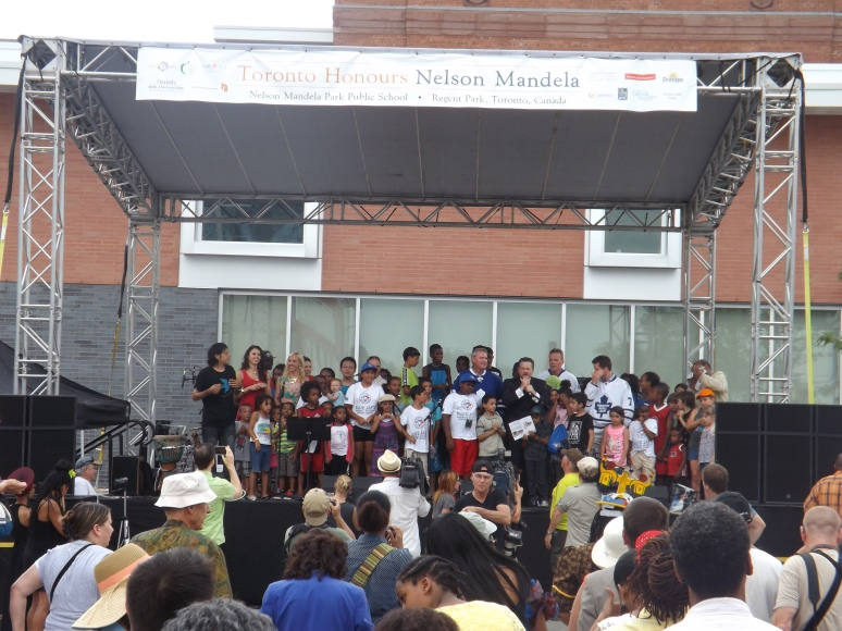 School Kids Celebrating Nelson Mandela's Birthday in Regent Park