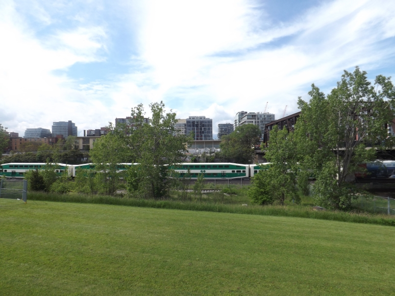 Go train from the West going into Union station